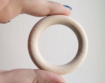 "Unfinished Wooden rings - 54 mm (2,12"")  - wooden connector - natural eco friendly - 5 pcs - made from beech-tree"