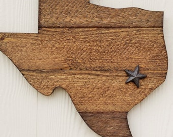 Rustic Wooden Texas with cast iron star, stained wooden Texas