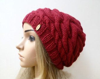 Wool Alpaca Cable Slouchy - Hand Knit Hat - Women Knit Hat - Braided Cabled Alpaca Wool Slouch Beanie - Red Slouchy Hat - ClickClackKnits
