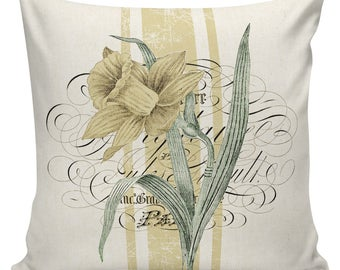 Easter Pillows, Daffodils, Spring Pillows, Throw Pillow Covers, Daffodil, Botanical Print, Burlap, Cotton,Spring Throw Pillow Covers #SP0212