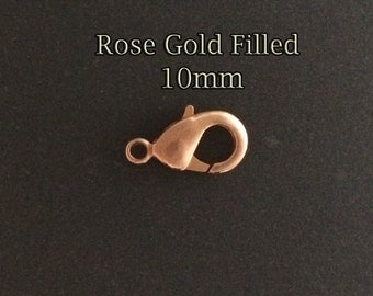5pcs Rose Gold filled Lobster clasps Claw 10mm - rose gold lobsters clasps - jewellery findings casps rose gold lobsters Claw Trigger