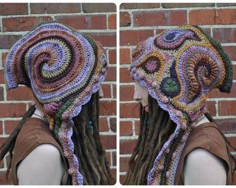 Vibrations Freeform Crochet Hood // Ooak Fiber Art Scarf