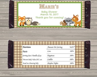 Customizable Printable Woodland Candy Bar Wrapper for 1.5 oz Hershey Bars mms002