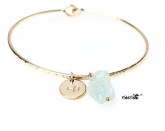 Raw Aquamarine Bracelet / March Birthstone Gift / Rough Aquamarine Jewelry / Personalized Gold Filled Bangle / Womens Jewelry Gifts