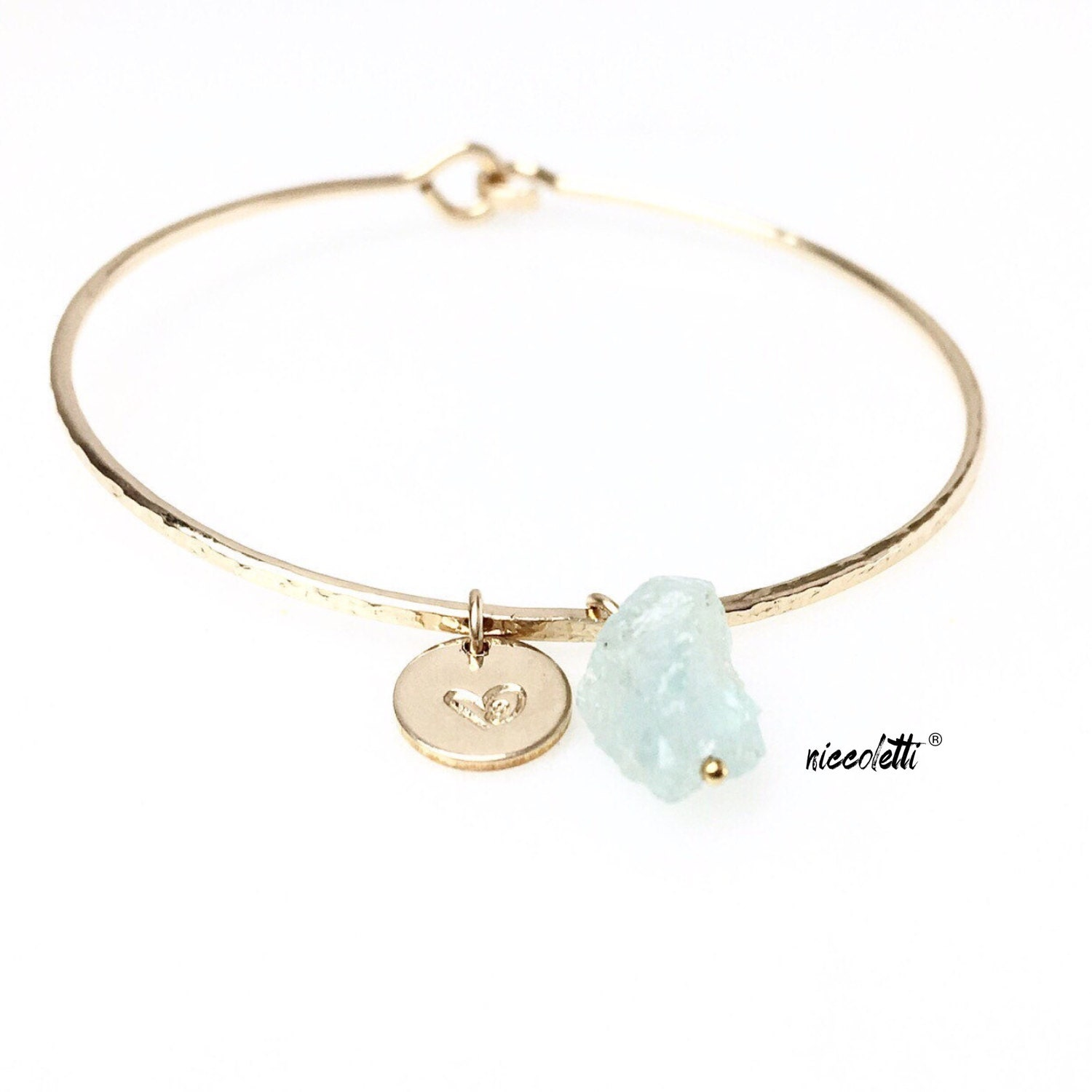 Raw Aquamarine Bracelet / March Birthstone Gift / Rough Aquamarine Jewelry / Personalized Gold Filled Bangle / Womens Jewelry Gifts