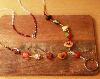 Beaded Fruit Lanyard - Fruit Jewelry, Food Jewelry