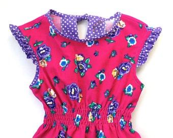 Girl's corduroy winter dress, little girl's dress, girl's dress with fluted trim, girl's dress marked waist, pink with flowers girl dress