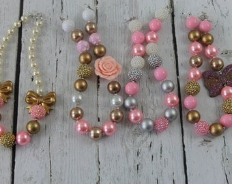 Bubble Gum Necklace Girls Chunky Necklace Pink Gold Chunky Necklace Baby Girls Gumball Necklace 1st Birthday Wedding