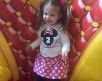 Hot Pink Minnie Mouse 1st Birthday Outfit Hot Pink Polka Dot Long or Short Sleeves Shirt Minnie Mouse 2nd 3rd Minnie Mouse Birthday outfit