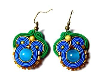 Fela - small but eye-catching and cute soutache earrings, soutache jewelry
