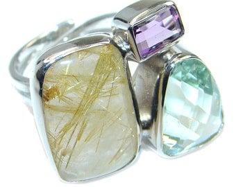 Golden Rutilated Quartz, Green Amethyst, Amethyst Sterling Silver Ring - weight 14.50g - Size adjustable - dim L - 7 8, W - 1 1 8, T - 1 4 i