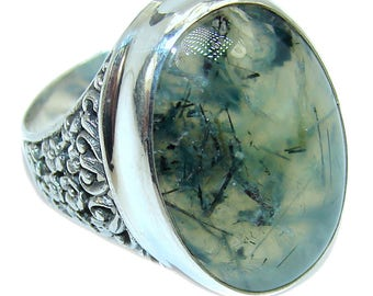 Moss Prehnite Sterling Silver Ring - weight 11.30g - Size 9 1 4 - dim L- 1 1 8, W -7 8, t -1 4 inch - code 20-cze-16-17