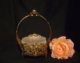 Hollywood Regency Gold Filigree Ormolu Footed Coaster Caddy and Coasters, Beautiful and Useful
