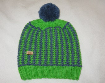 100% Wool Knit Hat - Blue and Green textured