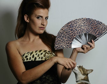 FOLDING HAND FAN | Leopard spots animal print | brown black | wild cat | fashion accessories | unique gift for her | Free Shipping Worldwide