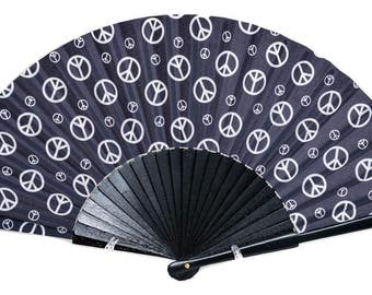 HAND FAN | 70s style black and white peace signs | hippie style | fashion accessories | unique gift for her | Free Shipping Worldwide