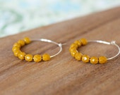 sterling silver mustard czech glass hoop earrings