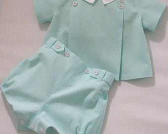 Mint Stripe Chambray Set for a Baby Boy