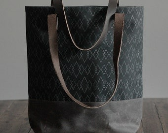 "Waxed Canvas Screen Print Tote Bag with Leather Straps - ""Canyon"" Black/Brown"
