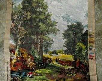 "Vintage tapestry on frame - unfinished pastoral scene - John Constable ""Le champ de ble""  Made in France 1970s"