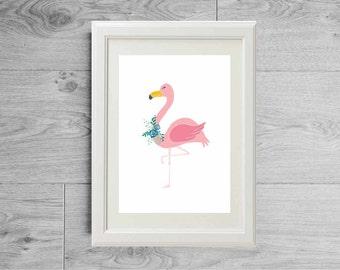 Flamingo print | Pink flamingo poster - Animals print - Kids wall art - Kids art - Animal nursery print - Kids print - Kids nursery decor