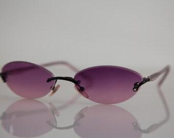 Vintage Black Rimless Frame, Crystal Purple Temples, Gradient Purple Lenses.