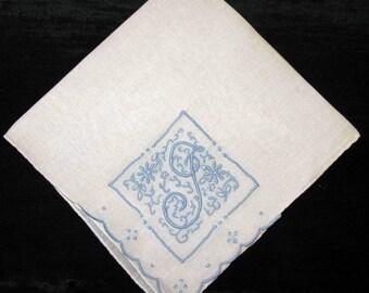 something blue hankie initial f, d, g, h or m bridal gift bride handkerchief hankerchief