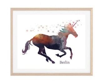 Personalized Unicorn Print   Unicorn Watercolor Printable   Custom Name Watercolor Print