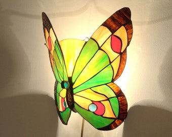 "12"" Tiffany Style Butterfly Sconce Lamp. Hand crafted stained glass wall sconce. Stained glass hanging butterfly lamp. Wall sconce light."