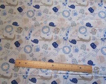 Blue Animal/Giraffee/Elephant/Lion/Owl/Turtle/Alligator Cotton Fabric by the Yard