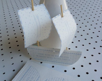 Pop-out Letterpress Tall Ship Boat - DIY Paper Craft