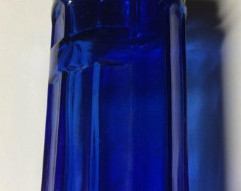 Cobalt Hoosier Style Jar Vintage But NOT Antique Blue Jar 5X2.5 Inches With Aluminum Lid