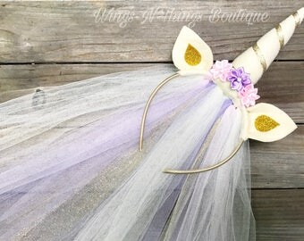 UNICORN HEADBAND w/ tulle veil, ivory, hair accessory, girls, toddler, adult, birthday, flower girl, pony, child, pony ears, gold