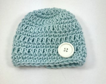 Baby boy hat, crochet baby hat, premie hat, blue hat, hat with button