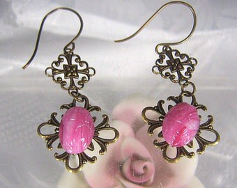 Pink Carved Glass Earrings, Antiqued Brass Filigree Earrings, Pierced Earrings, Dangle Earrings, Drop Earrings, Vintage Style Earrings