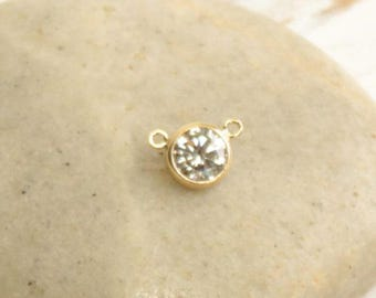Gold Filled CZ Link... 1 Piece... 9mm Connector