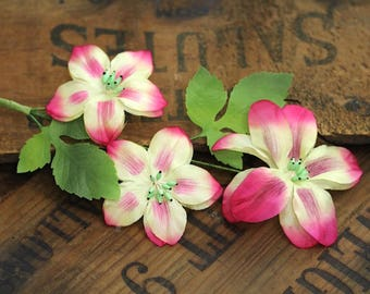 "Pink Floral Crown, Flower Wreath for Womens Hair, 1950s Hair Garland, Vintage Fascinator Clip - ""A Kiss...Or Three"""