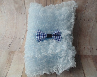 Baby Blue Cheesecloth    Blue Plaid  Bow Tie ..Baby Boy Cheesecloth and Bow tie ...   Newborn  Cheesecloth  Photography Wrap
