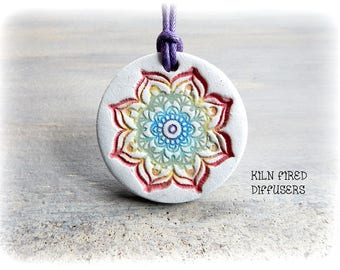 7 Chakras Balancing Rainbow Mandala Pure Essential Oil Diffuser Pendant Necklace Natural Meditation Healing Use with Therapeutic Grade Oils