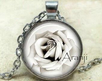 White rose art pendant, rose necklace, white rose pendant, rose jewelry, ivory rose necklace, rose photo pendant, rose, Pendant #PL217P