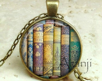 Book pendant, book necklace, book jewelry, bookshelf necklace, bookshelf pendant, gift for bookworm Pendant#HG233BR