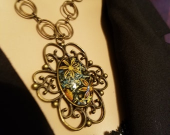 Necklace Floral Design Statement Piece Double Loop Chain