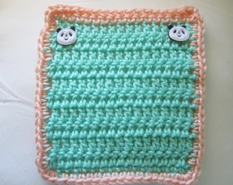 Crocheted Turquoise w/Peach Trim Mini Blanket for your Dolls/OOAK