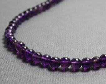 Amethyst Necklace, Amethyst Bead Necklace, Purple Necklace, Amethyst Jewelry, Long Amethyst Necklace, 4mm Amethyst Necklace, Kathy Bankston