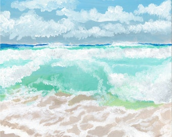 "Acrylic Ocean Painting-Print Titled ""Sea Blues"""