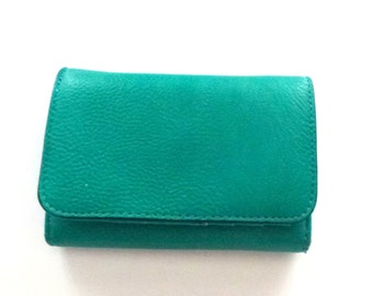 Turquoise leather wallet- fake leather
