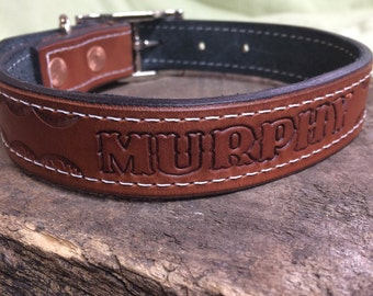 Leather Dog Collar - Hand-tooled personalized with dogs name - Custom orders welcome