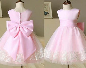 Adorable birthday dress for baby girls | baby girls' lace dress | Pink lace dress