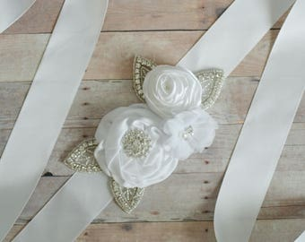 Wedding sash, Flower Girl Sash, Ribbon Sash, Bridal Sash, Wedding Shower Sash, Bridesmaid Sash Bachelorette white