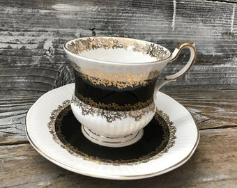 Vintage English Marquis Queen's Black and Gold Tea Cup Saucer Fine Bone China Made in England